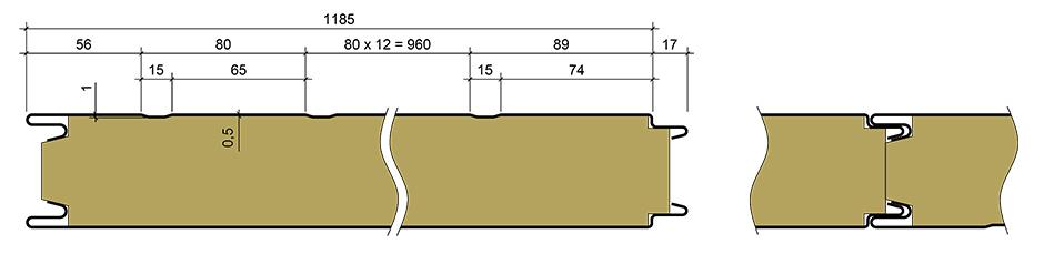 Стеновая металлическая сэндвич-панель Техноспан